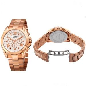 Akribos XXIV Women's Multifunction Rose Gold Watch